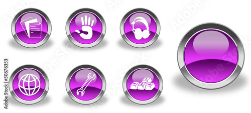 Violet / pink and glossy icon set