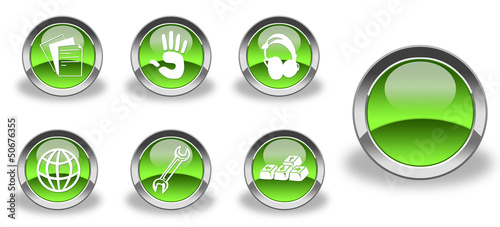 Green and glossy icon set