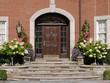 front door with hydrangeas