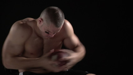 Football player getting ready for a game