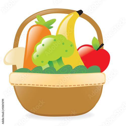 Fresh fruits and veggies in a basket