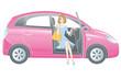 車を降りる女性ドライバー