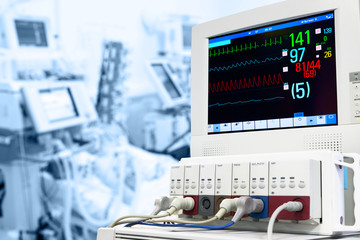 ICU with ECG monitor