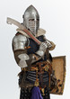 Man is posing as a medieval knight