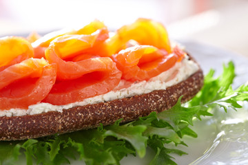 Smoke salmon and cream cheese sandwich