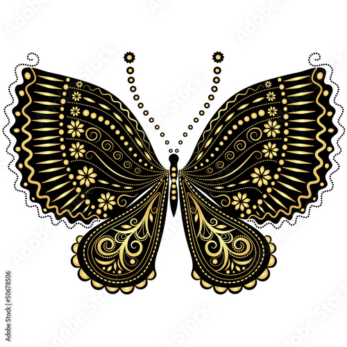Fantasy vintage black-gold butterfly