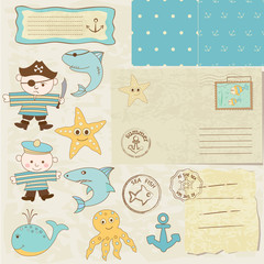 Sea scrapbook elements