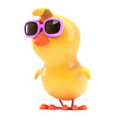 Easter chick in pink shades looks left