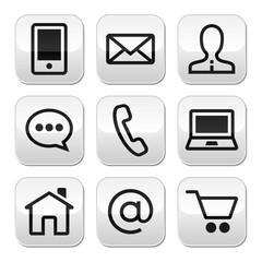 Contact web vector stroke buttons set