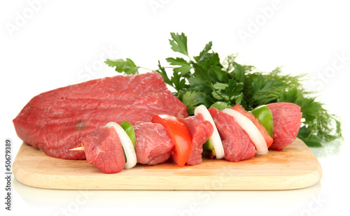 Raw beef meat isolated on white