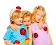Three blond cute kids