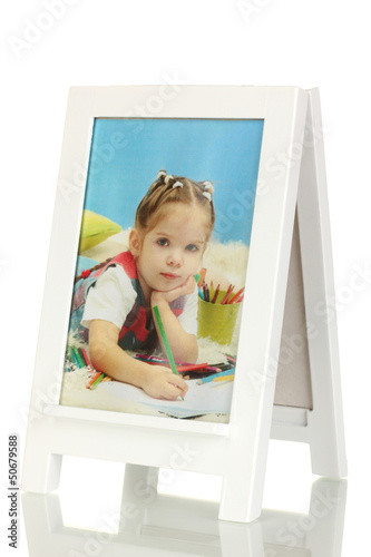 White photo frame as easel isolated on white