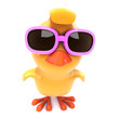 Easter chick in pink shades zoomed up close