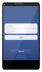 Mobile Phone With Social Media Website Interface