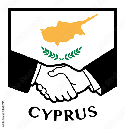 Cyprus flag and business handshake, vector illustration