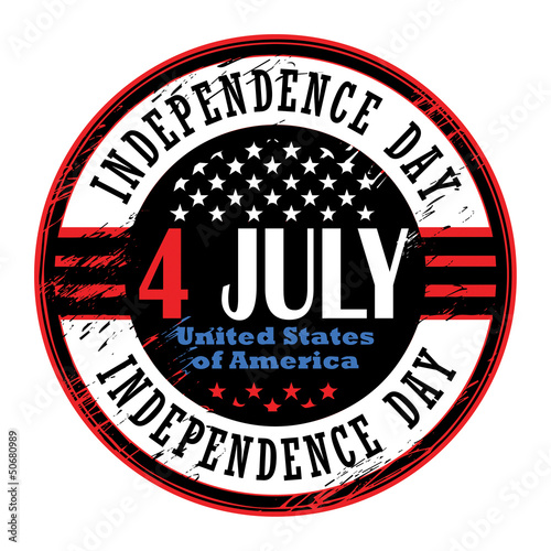Grunge rubber stamp with text 4 July Independence Day, vector