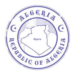 Grunge rubber stamp with the name and map of Algeria, vector
