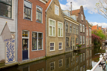 street with canal of Delft, Holland