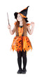 Little girl in orange costume of witch for Halloween