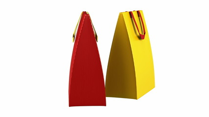 two red and yellow shopping bags loop rotate on white background