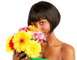 Black woman with flowers