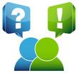 2 People Speech Bubbles Question & Answer Blue/Green