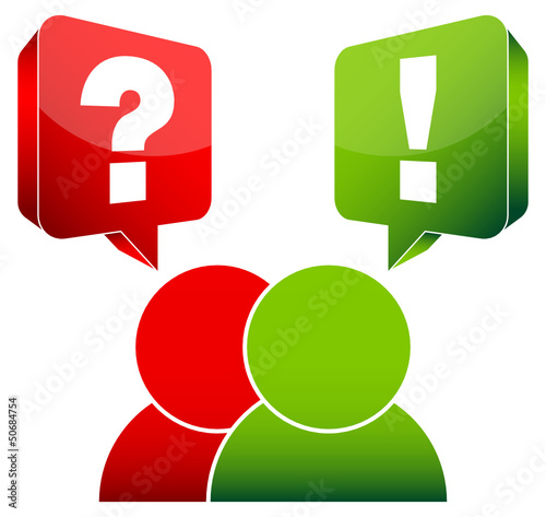 2 People Speech Bubbles Question & Answer Red/Green