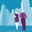 Junge Kaufleute / Wolkenkratzer Hintergrund - Illustration