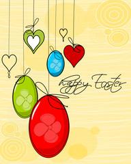 Ostern, Karte mit Ostereier und Herzen
