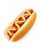 Amerikanischer Hot Dog mit Senf und Ketschup