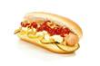canvas print picture - Dänischer Hot Dog mit Gurken und Röstzwiebeln