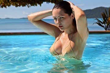 Beautiful woman in pool