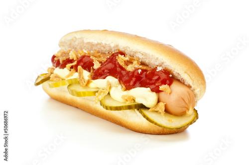 canvas print picture Dänischer Hot Dog mit Gurken und Röstzwiebeln