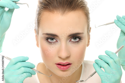 poster of attractive, esthetic, blonde, face, girl, surgery, women