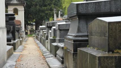 French cemetery in the rain. Montparnasse, Paris.