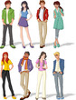 Group of fashion cartoon young people. Teenagers.