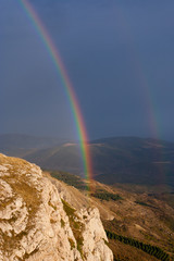 Rainbow over the mountains of Crimea. Ukraine.
