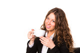 Beautiful business woman drinking hot cup of coffee