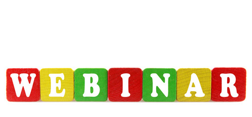 webinar - isolated text in wooden building blocks