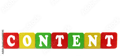 content - isolated text in wooden building blocks