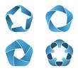 Four pentagon icons