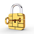 Credit card security chip as padlock, safe banking