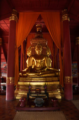 The sitting gold buddha in chapel