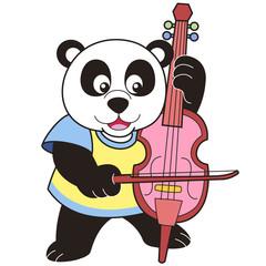 Cartoon Panda Playing a Cello