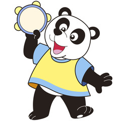 Cartoon Panda Playing a Tambourine
