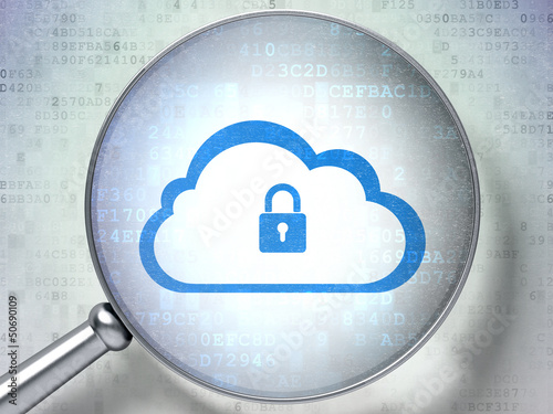 Cloud computing concept:  Cloud Whis Padlock with optical glass