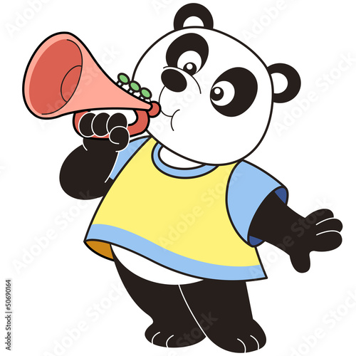 Cartoon Panda Playing a Trumpet