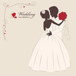 Wedding invitation . Romantic bride and groom .