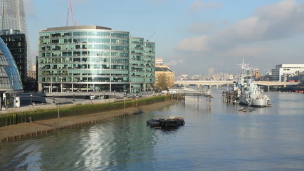 South bank of the Thames. Sunny morning.