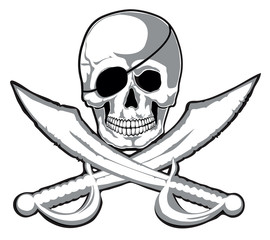 Smiling skull and two pirate swords isolated. Vector